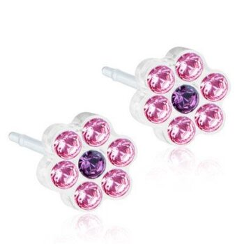 Daisy Light Rose/Amethyst  5mm 1 paar