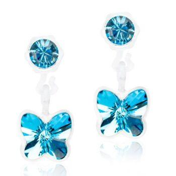 Aquamarine helesinine liblikas Swarovski kristall 4/5mm