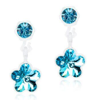 Flower Aquamarine helesinine lill Swarovski kristall 4/6mm