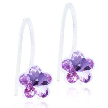 Fixed Flower Violet helelilla lill Swarovski kristall 6mm