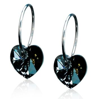 Heart Black Diamond must teemant süda Swarovski kristall 14mm rõngas