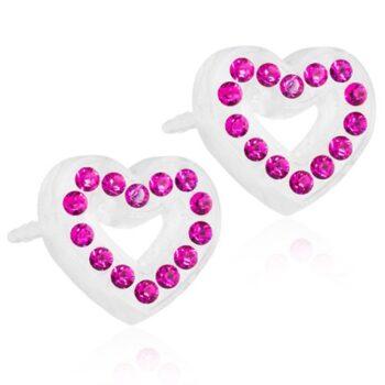 Fuchsia süda fuksiaroosade Swarovski kristallidega 10mm