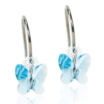 Naturaalne titaan Butterfly Aquamarine Swarovski kristall 8mm