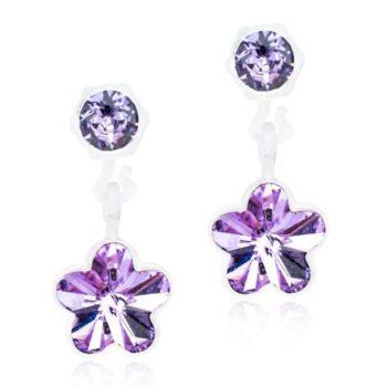 Flower Violet helelilla lill Swarovski kristall 4/6mm