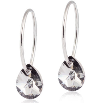 Naturaalne titaan 8mm Drop Black Diamond Swarovski kristall 14mm rõngas