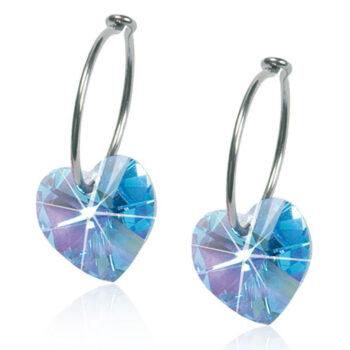 Naturaalne titaan Heart Aquamarine Swarovski kristall 14mm rõngas